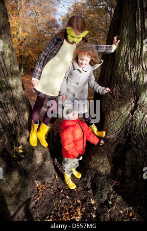 Kinder spielen zusammen im Baum - Stockfoto