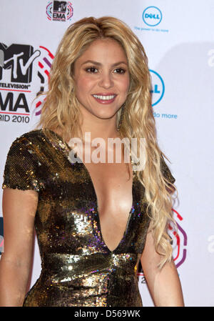 Kolumbianische Sängerin Shakira auf der 2010 kommt MTV Europe Music Awards (EMA) 7. November 2010 im Caja Magica - Stockfoto