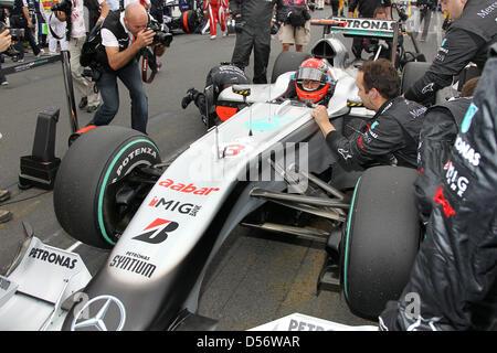 Deutschen Michael Schumacher Mercedes Grand Prix an der Startlinie bis vor dem Grand Prix von Australien im Albert - Stockfoto