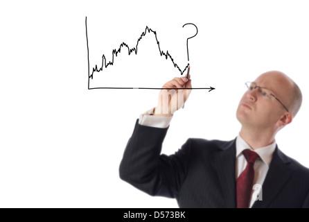 Geschäftsmann, gestützt auf textfreiraum Börse Chart isoliert auf weiss - Stockfoto