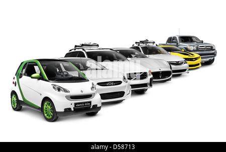 Reihe von verschiedenen Autos elektrisch, kompakt, LKW, Sportwagen, SUV und Luxus auf weißen Hintergrund isoliert - Stockfoto