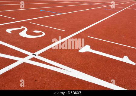 Bahnen auf einer Laufstrecke - Stockfoto
