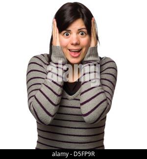 Porträt einer überrascht, junge Frau mit den Händen auf Kopf, Blick in die Kamera ungläubig - Stockfoto