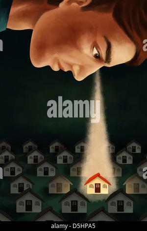 Anschauliches Bild des Mannes Haus repräsentieren Immobilien-Geschäft im Auge behalten - Stockfoto