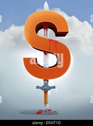 Anschauliches Bild von Schwert in Dollarzeichen, Wirtschaftskriminalität darstellt - Stockfoto