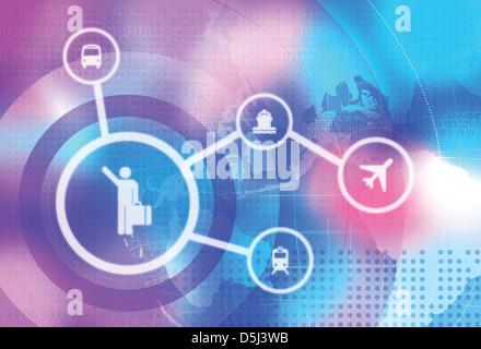 Anschauliches Bild der Symbole für die Reisebranche - Stockfoto
