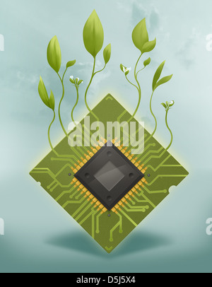 Anschauliches Bild von Pflanzen auf Mikrochip stellvertretend gehen grüne Konzept - Stockfoto