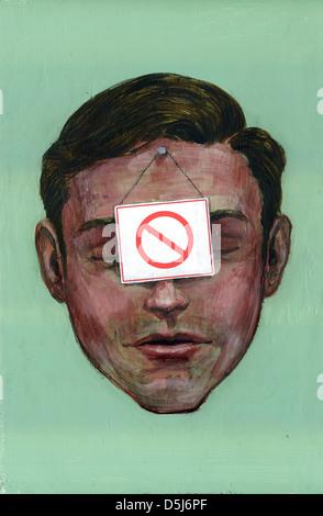 Anschauliches Bild der Geschäftsmann mit verwenden Sie keine Zeichen Arbeit kostenlos - Stockfoto
