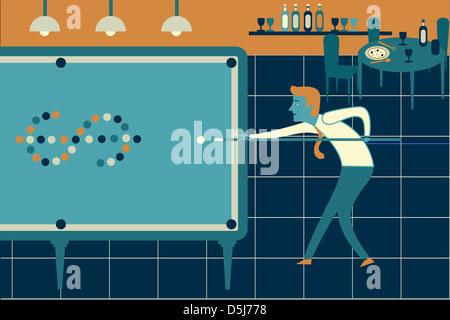 Anschaulichen Bild der Geschäftsmann Billard, Planspiel darstellt - Stockfoto