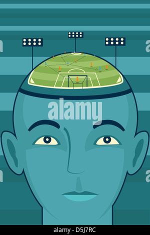 Anschauliches Bild des Unternehmer Kopf mit Fußballplatz, Business-Strategie darstellt - Stockfoto