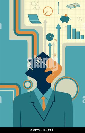 Anschauliches Bild der nachdenklich Geschäftsmann, Business-Strategie darstellt - Stockfoto