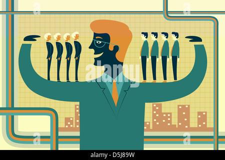 Anschauliches Bild des Führers tragen Geschäftsleute auf seinen Armen Vertretung Erwerb - Stockfoto