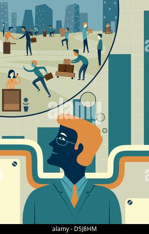 Illustration der Geschäftsmann mit Blase Zukunftsvision vertreten - Stockfoto