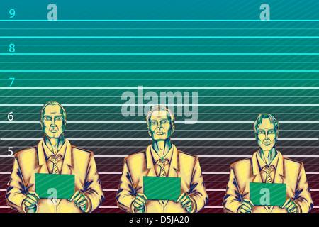 Anschaulichen Bild der Unternehmer gegen Höhe Diagramm für Wirtschaftskriminalität - Stockfoto