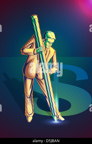 Anschauliches Bild der Geschäftsmann Dollarzeichen aus Ziel und Entwicklung zu schaffen - Stockfoto
