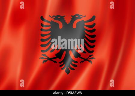 Albanien Flagge, dreidimensional zu rendern, seidige Textur - Stockfoto