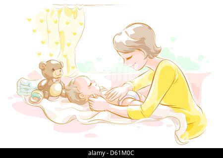 Mutter kümmert sich um baby - Stockfoto