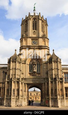 Tom Tower Eintritt in Christ Church College Kartenblatt, in der Universität von Oxford, Oxfordshire, England, Großbritannien, - Stockfoto