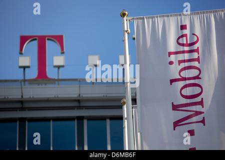 Firmensitz T Mobile Logo Prag Tschechische Republik Stockfoto