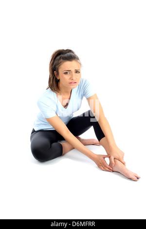 -Modell veröffentlicht. Frau mit Knöchelverletzung Sport - Stockfoto