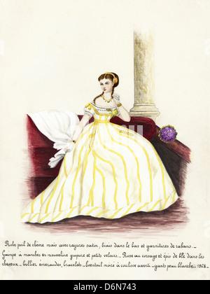 Französischer Mode aus der viktorianischen Ära datiert 1868. Original Aquarell-Malerei mit Beschreibung des Designs - Stockfoto