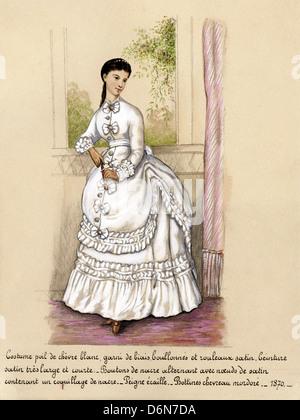 Französischer Mode aus der viktorianischen Ära datiert 1870. Original Aquarell-Malerei mit Beschreibung des Designs - Stockfoto
