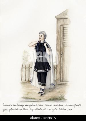 Französischer Mode aus der viktorianischen Ära datiert 1873. Original Aquarell-Malerei mit Beschreibung des Designs - Stockfoto