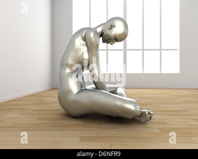Abstrakt 3D gerenderte Darstellung einer depressiven Frau. - Stockfoto