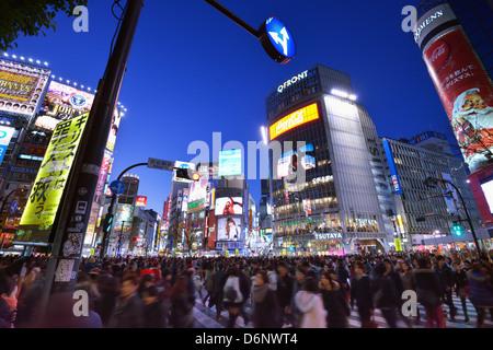 Shibuya Kreuzung in Tokio, Japan. - Stockfoto