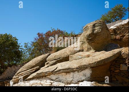 Die alten Löwe von Kea, eines der ältesten Skulpturen in Ioulis (Chora), Kea Insel, Cyclades, Griechenland, griechische - Stockfoto