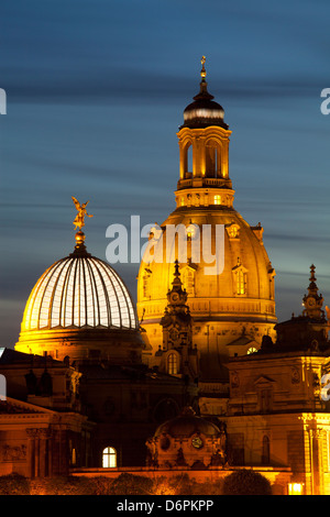 Blick auf die Kuppel der Frauenkirche bei Nacht, Dresden, Sachsen, Deutschland, Europa - Stockfoto