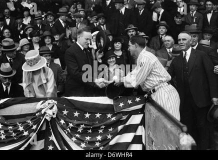 Präsident und Mrs Coolidge in Washington Senatoren Baseball-Spiel, ca. 1925 - Stockfoto