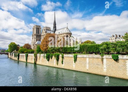 Notre Dame de Paris, Frankreich-Wahrzeichen. Blick auf den Fluss seine. - Stockfoto