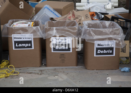 NYC Abteilung der sanitären Grundversorgung, Bureau of Waste Prevention, Elektronik-recycling und gefährlichen Abfällen - Stockfoto