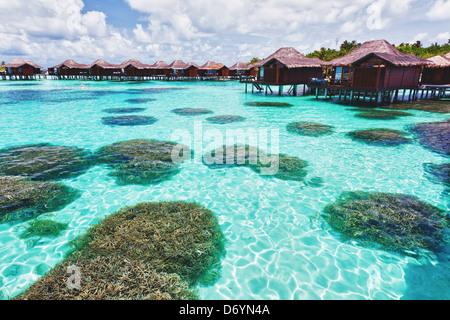 Über Wasser-Bungalows mit Schritten in Lagune mit Koralle - Stockfoto