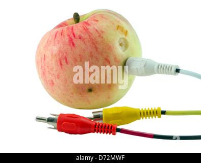 Tulpe audio/Video Kabel Stecker angeschlossen an Apple isoliert auf weißem Hintergrund ökologischen natürlichen - Stockfoto