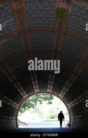 Ein Mann geht seinen Hund durch einen Tunnel im Prospect Park in Brooklyn, New York. - Stockfoto