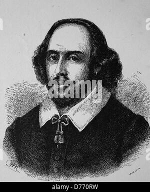 William Shakespeare, 1564-1616, englischer Dramatiker und Dichter, historischen Holzschnitt, 1880 - Stockfoto