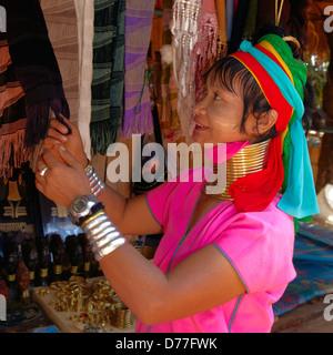 Karen Langhals Frau Volksgruppe Chiang Rai Provinz Thailand