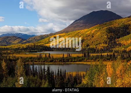 Berge im Herbst Farbe auf dem Haines Highway; Yukon Kanada - Stockfoto