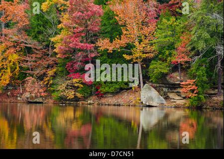 Bäume in herbstlichen Farben spiegelt sich in einem See, Ohio Vereinigte Staaten von Amerika - Stockfoto