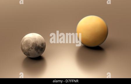 Eine gerenderte Größenvergleich Blatt zwischen den Erde-Mond und Saturn Mond Titan. - Stockfoto