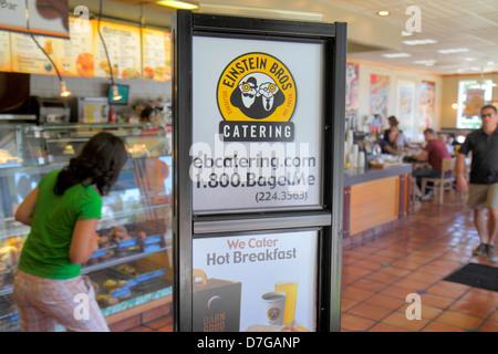 Miami Beach Florida Alton Road Einstein Bros Brothers Restaurant Café lokal Bagels Kaffee melden Promotion catering - Stockfoto