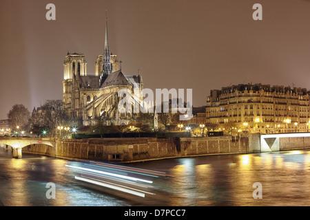 Nacht Panorama Cite Insel mit Kathedrale Notre-Dame de Paris - Stockfoto