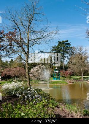 Brunnen und eine Pegoda im Wassergarten im Cliveden House, National Trust im Cliveden House, National Trust-Eigenschaft - Stockfoto