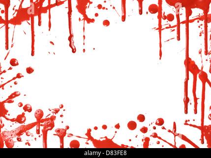 Rahmen von roter Farbe tropft auf weißem Hintergrund - Stockfoto