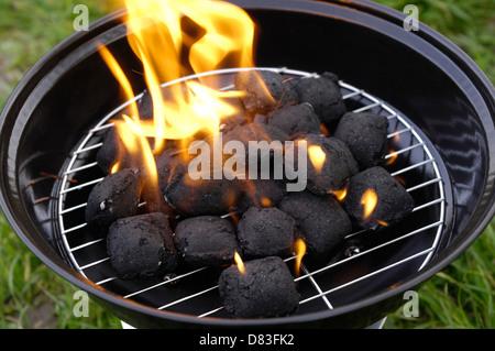 holzkohlebriketts auf feuer im grill stockfoto bild 84594823 alamy. Black Bedroom Furniture Sets. Home Design Ideas