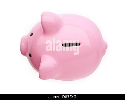 Rosa niedlichen Sparschwein isoliert auf weißem Hintergrund mit Beschneidungspfad - Stockfoto