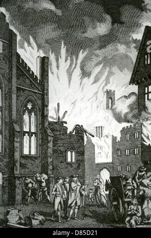GREAT FIRE OF LONDON September 1666 in einem Kupferstich aus dem 18. Jahrhundert - Stockfoto