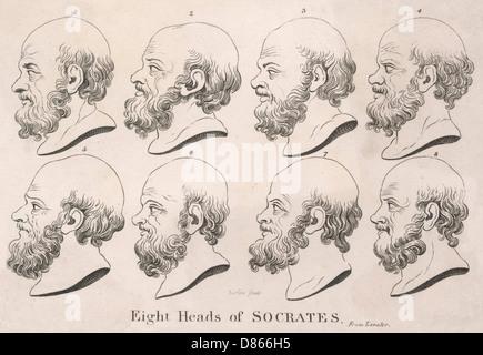 Acht Köpfe des klassischen griechischen Philosophen Sokrates - Stockfoto